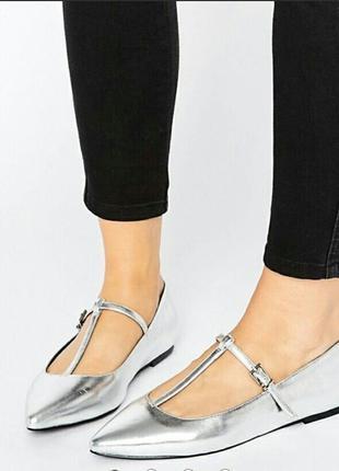 Серебристые балетки asos туфли туфлі туфельки