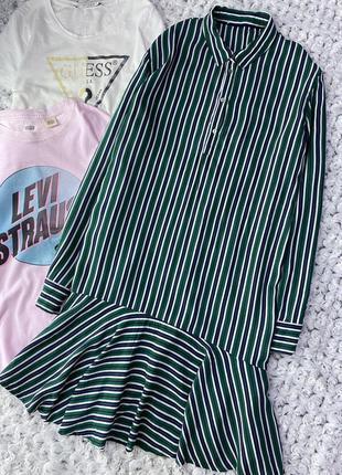 Натуральное платье рубашка с воланом в полоску