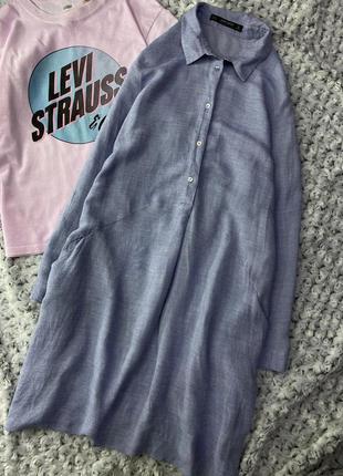 Хлопковое платье рубашка свободного кроя с карманами zara