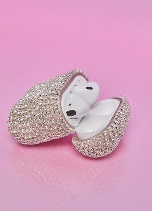 Серебристый чехол ( камни)  airpod case , iphone 6, 7/7 plus, ...