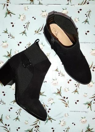 🎁1+1=3 крутые черные замшевые полусапожки ботинки демисезон ос...
