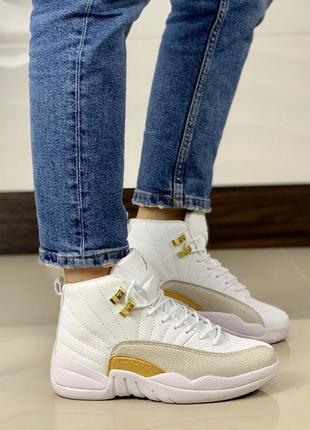 Nike air jordan 12 retro ovo white gold🔺женские кроссовки найк...