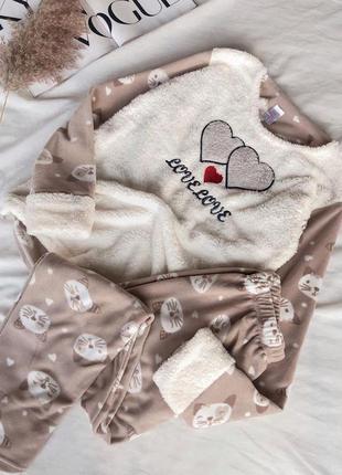 Теплая махровая пижама