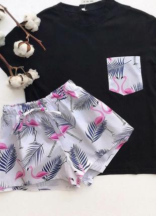 Нежные фламинго, хлопковая пижамка