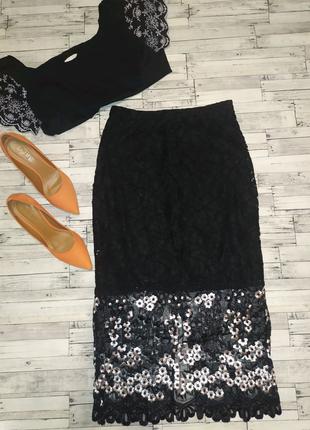 Шикарная гипюроваю юбка с завышенной талией