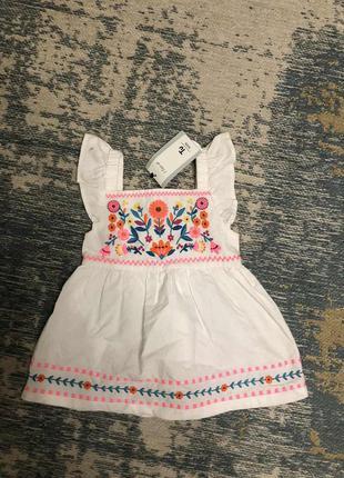 Хлопковое платье вышиванка tu на 1-1.5 года, новая!