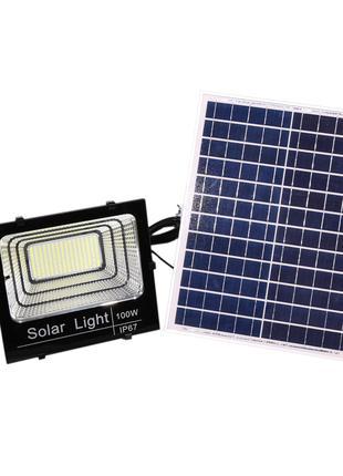 LED прожектор 100W на солнечной батарее с пультом ДУ