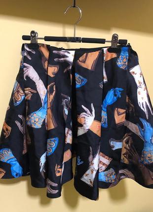 """Изумительная шелковая юбка от rochas  """"ручки"""",супер клеш, р.38..."""