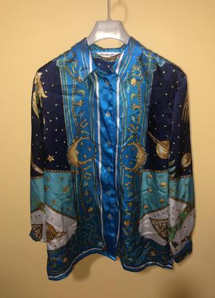 Атласный блузон в стиле «палаццо»{ пижамный стиль}, р.44-46{14...