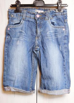 Джинсовые шорты до колена на девочку 10 лет