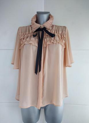 Стильная блуза zara с розового цвета с завязками и рюшами