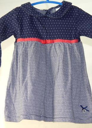 Трикотажное платье на 6-9 месяцев
