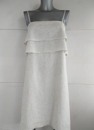 Льняной платье -сарафан zara белого цвета в полоску