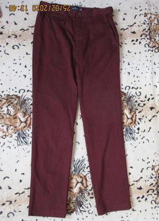 Стильные бордовые брюки/коттон/высокий рост 185 см