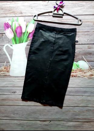 Стильная юбка карандаш джинс кожа