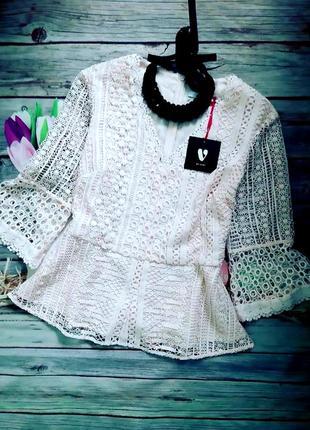 Нарядная ажурная блузка пудровый цвет