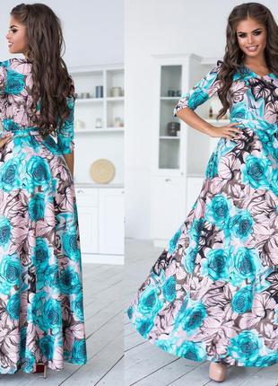 Женское платье в пол приталенная с широкой юбкой яркий принт г...