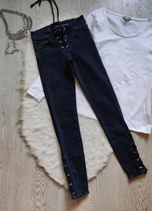 Плотные синие джинсы скинни стрейч с люверсами шнуровкой на ши...