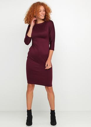 Платье-футляр цвета марсала вискоза