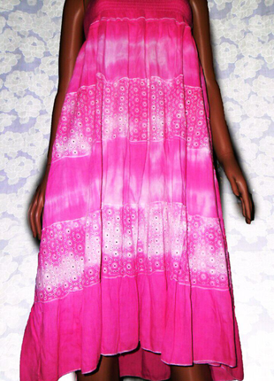 Нежно розовая, хлопковая юбка, платье трансформер, градиент