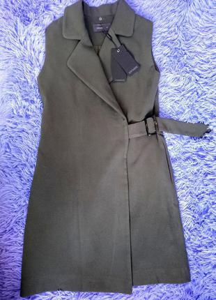 Стильное пальто жилетка на запах