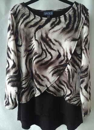 Красивая двухслойная блуза животный принт saloos