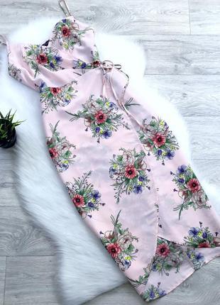 Платье миди на запах в цветочный принт
