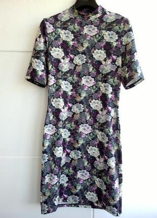 Красивое платье принт крупных цветов topshop