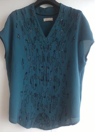 Красивая блуза marks&spencer с бисером и вышивкой цвета морско...