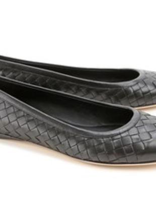 Комфортные кожаные балетки туфли, плетение натуральная кожа,