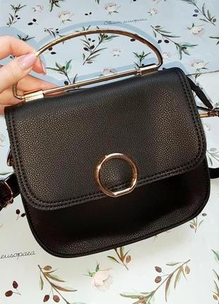 🎁1+1=3 стильная маленькая кожаная черная сумка кроссбоди с дли...