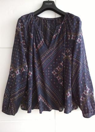 Стильная блуза из коттона с красивым принтом marks & spencer р...