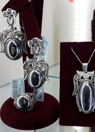 Серебряный набор с гематитом подвеска кольцо серьги
