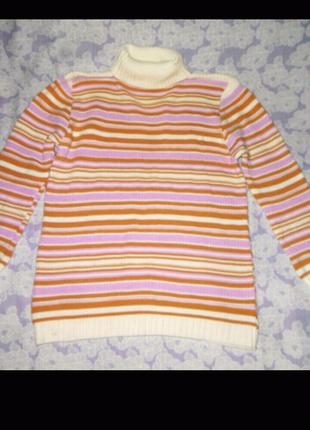 Разноцветная, полосатая, вязаная, удлиненная кофта, свитер