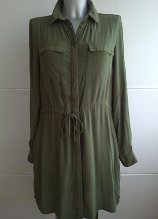 Платье -рубашка new look цвета хаки с карманами