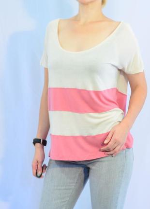 2218\30 бежево-розовая футболка h&m m