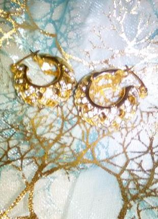 Серьги циркон колечки сережки кольца сияющие