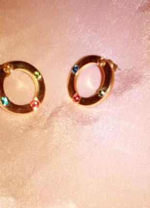 Серьги колечки разноцветные камни сережки кольца яркие