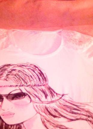 Майка с кружевом s m terranova 42 44 белая кружево принт футболка
