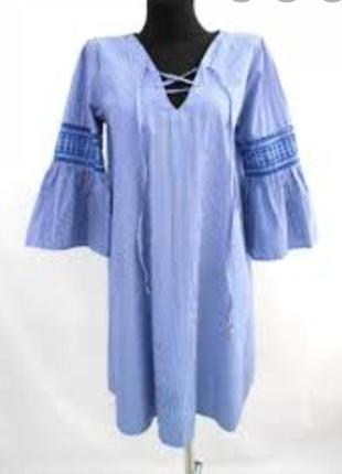 Новое платье в полоску и пышными рукавами primark  p12/40.