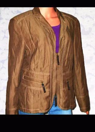 Хлопковая, коричневая, куртка, жакет, пиджак на молнии