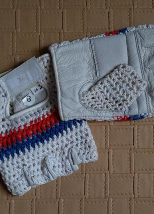 Перчатки без пальцев митенки натуральная кожа вязка