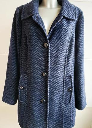Шикарное шерстяное пальто marks&spencer синего цвета цвета