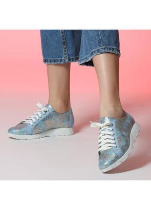 Женские кожаные голубые кроссовки туфли на шнурках с рисуноком...