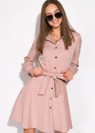 Лаконичное женское платье трапеция на кнопках цвета капучино