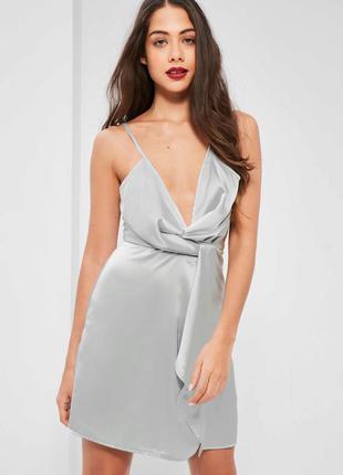 Эксклюзивное серебряное атласное мини-платье missguided #розва...