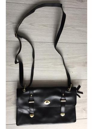 Сумка, с длинными ручками, через плечо, маленькая черная сумка.