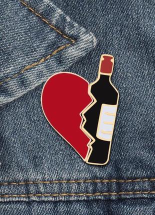 Значок с двух половин / пины металлические сердце-вино / брошь