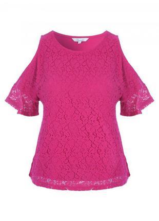 Новая красивая ажурная блуза яркого насыщенного цвета фуксии