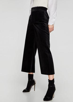 Zara basic прямые бархатные брюки базовая коллекция из велюра ...